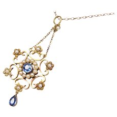 15k Gold 1.15 ctw Sapphire and Seed Pearl Floral Lavelier Pendant on 9k Gold Chain