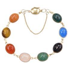 """7 1/2"""" 14k Gold Colorful Scarab Bracelet"""