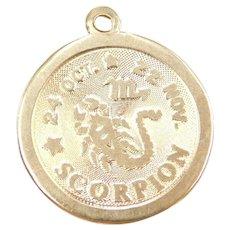14k Gold Scorpion 24 Oct - 22 Nov Zodiac Charm