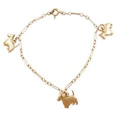 "Vintage 14k Gold Baby / Childs Scottish Terrier Charm Bracelet ~ 6"""