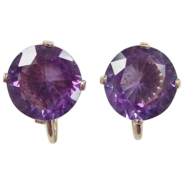 Vintage 14k Gold 14 68 Ctw Color Changing Created Alexandrite Back Earrings