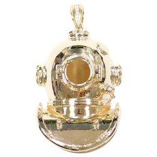 BIG Custom 3D Deep Sea Divers Mask / Helmet ~ Scuba Divers Helmet / Sponge Divers 14k Gold .06 ctw Diamonds ~ Three Dimensional 14k Gold