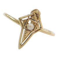 Victorian 14k Gold Etched Pointed Seed Pearl Ring ~ Converted Stick Pin