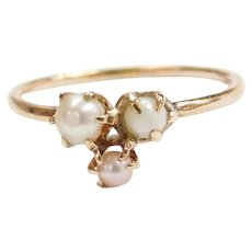 Edwardian 14k Gold Seed Pearl Ring