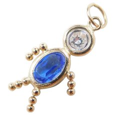 02f2767bd Vintage 14k Gold September Boy Birthstone Charm ~ Faux Sapphire and Faux  Diamond. Arnold Jewelers