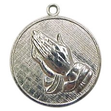 Vintage Sterling Silver Serenity Prayer Praying Hands Charm