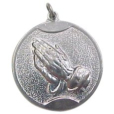 Vintage Praying Hands, Serenity Prayer Charm Sterling Silver