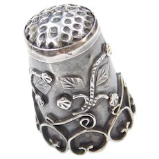 Vintage Handmade Ornate Vine Motif Sterling Silver Sewing Thimble