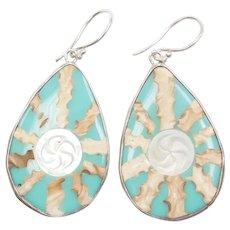 Big Sterling Silver Shell Dangle Earrings