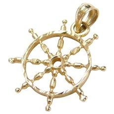Vintage 14k Gold Ships Wheel Charm