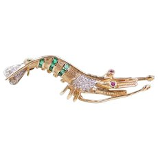 Vintage 14k Gold Shrimp Pin with .15 ctw Emerald, Diamond and Ruby Accents