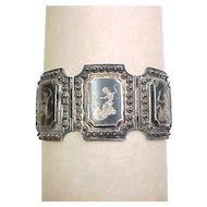 Vintage Sterling Silver Siam Goddess Panel Bracelet