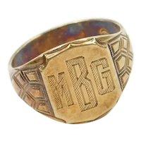 Edwardian 14k Gold Signet Ring