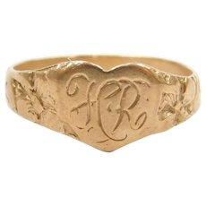Edwardian 14k Gold Floral Signet Heart Ring ~ Baby / Childs