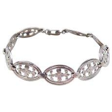 Vintage Sterling Silver Flower Bracelet  ~1940's