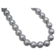 """Vintage Sterling Silver Bead Necklace ~ 16"""""""