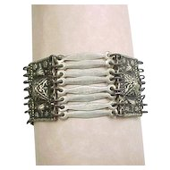 Vintage Sterling Silver Wide Detailed Bracelet