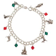 Sterling Silver Christmas Charm Bracelet ~  Red and Green Glass Beads