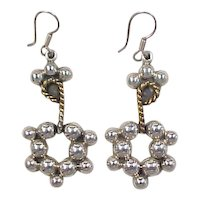 Vintage Sterling Silver Two-Tone Rope and Ball Design Earrings