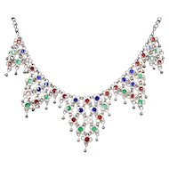 Silver Colorful Enamel Bib Necklace ~ 15""