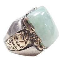 BIG Gents Sterling Silver & 10k Gold Jade Ship and Fish Ring