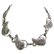 Vintage Sterling Silver Leaf Necklace