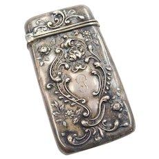 Art Nouveau Sterling Silver Match Safe Ornate Floral Design
