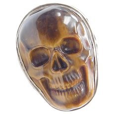 Massive Tigers Eye Sterling Silver Skull Ring