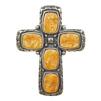 Vintage Sterling Silver Orange Wood Cross Pendant / Brooch