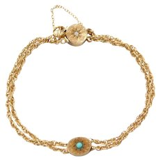 """7"""" Edwardian 14k Gold Slide Bracelet ~ Opal and Persian Turquoise Accents"""