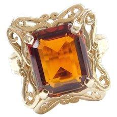 14k Gold 5.70 Carat Smoky Orange Citrine Ring with Ornate Setting