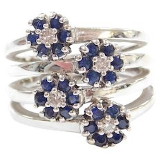 Sonia B Designer 14k White Gold 1.08 ctw Natural Sapphire and Diamond Wide Bypass Flower Ring