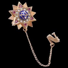 Vintage 10k Gold Sorority / Fraternity Pin ~ Ruby, Seed Pearls and Blue Enamel