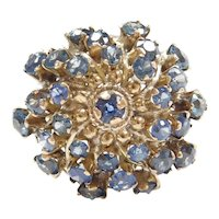 Retro 14k Gold Blue Spinel Cluster Ring ~ Circa 1940-50's