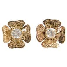 Edwardian 14k Gold Spinel Four Leaf Clover Stud Earrings