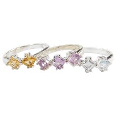 Sterling Silver Set of 3 Stacking Rings ~ Amethyst, Citrine and Blue Topaz