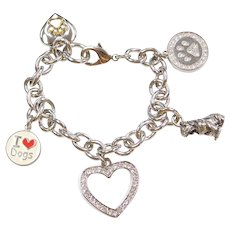 """Stainless Steel Fashion Dog Lovers Charm Bracelet 8"""""""