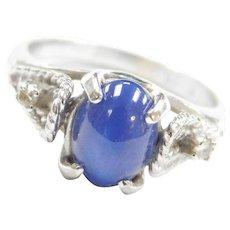 Vintage 14k White Gold Ornate Star Sapphire and Diamond Ring