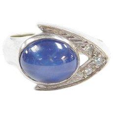 Retro 14k Gold Star Sapphire and Diamond Ring