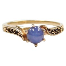 Lab-Grown Star Sapphire Solitaire Ring 10k Gold with Oxidized Floral / Leaf Design