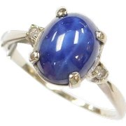 Vintage 14k White Gold Blue Star Sapphire and Diamond Ring