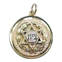 Vintage 10k Gold Star of David Medallion / Charm with Enamel