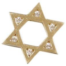 Vintage 14k Gold Diamond Star Of David / Jewish Star Pendant