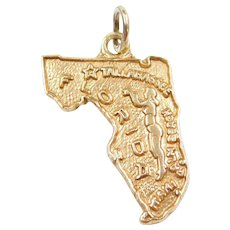 14k Gold State of Florida Charm