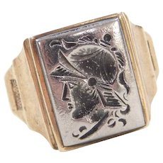 Edwardian 10k Gold and Steel Intaglio Ring