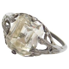 Art Deco Sterling Silver Faux Diamond Ring