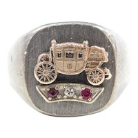 Sterling Silver and 10k Gold General Motors Fisher Auto Body Ring  ~ Ruby and Diamond Accents
