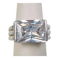 Vintage Sterling Silver Ring BIG Solitaire Faux Diamond