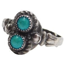 Sterling Silver Adjustable Two Stone Turquoise Ring