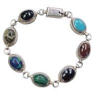 Vintage Sterling Silver Stone Bracelet